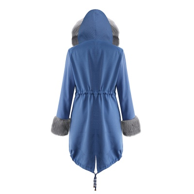 Midnight Blue Hooded Long-length Faux Fur Coat | Women's Solid Color Winter/Fall Jacket_31