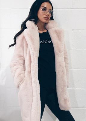 Daily Regular Stand Long Faux Fur Coat| Solid Colored Long Sleeve Faux Fur Yellow / Blue / Fuchsia_50