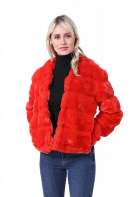 Women's Winter Short Fur Coat |Solid Colored Luxury Long Sleeve Faux Fur Pleated Formal Style Ruby Overcoat_3