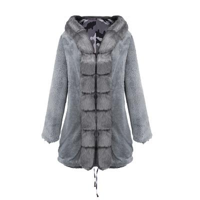 Chaqueta Fashionista de piel sintética con capucha y camuflaje para mujer | Abrigo largo medio en cuello de chal burdeos / negro / gris_33