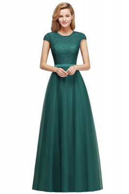 Elegant Lace Top Cap Sleeves Long Tulle Bridesmaid Dresses_6