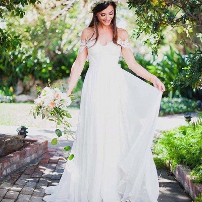 Sweep Train A-Line Chiffon Sleeveless Applique Lace Off-the-Shoulder Wedding Dresses_4