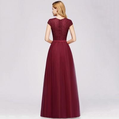 Elegant Lace Top Cap Sleeves Long Tulle Bridesmaid Dresses_10