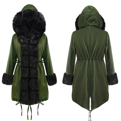 Army Green Faux Fur-trimmed long-length Coat | Classic Solid Color Winter/Fall Jacket_15