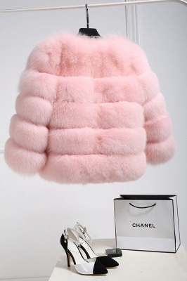 Women's Daily/Party Long Faux Fur Coat | Solid White/Pink/Ruby/Burgundy Colored Round Neck Long Sleeve Faux Fur Overcoat_20