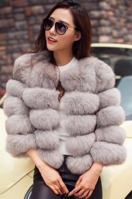 Women's Daily/Party Long Faux Fur Coat | Solid White/Pink/Ruby/Burgundy Colored Round Neck Long Sleeve Faux Fur Overcoat_43