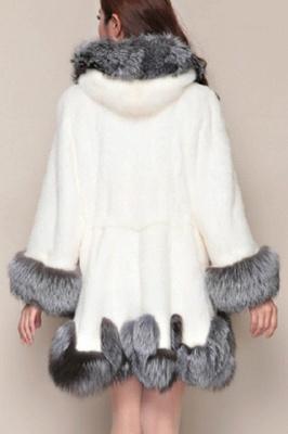 Abrigo con capucha de media longitud negro / blanco de piel sintética | Chaqueta de piel sintética con cuello chal artificial islandés_8