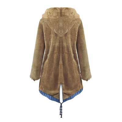 Midnight Blue Hooded Long-length Faux Fur Coat | Women's Solid Color Winter/Fall Jacket_44
