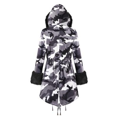Chaqueta Fashionista de piel sintética con capucha y camuflaje para mujer | Abrigo largo medio en cuello de chal burdeos / negro / gris_22