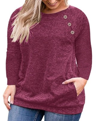 Long Sleeves Button Pullover Plu Size Shirts with Pockets_3