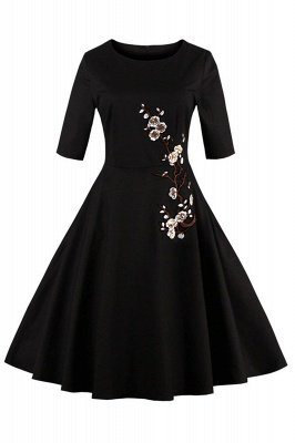1/2 Sleeve Black Dress with Embroidered Flowers | Clearance sale and free shipping_1