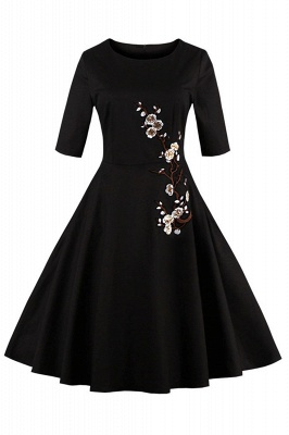1/2 Sleeve Black Dress with Embroidered Flowers | Clearance sale and free shipping_3
