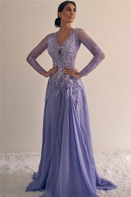 A-line V-neck Lace Formal Dresses | Long Sleeves Lilac Evening Gowns_1