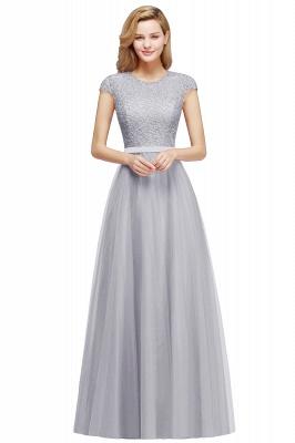Elegant Lace Top Cap Sleeves Long Tulle Bridesmaid Dresses_5