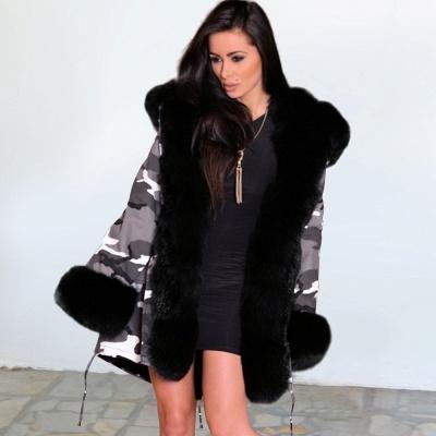 Chaqueta Fashionista de piel sintética con capucha y camuflaje para mujer | Abrigo largo medio en cuello de chal burdeos / negro / gris_10