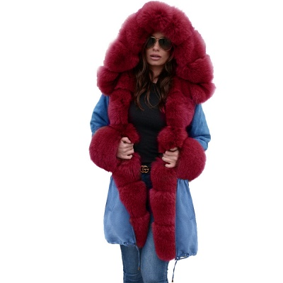 Midnight Blue Hooded Long-length Faux Fur Coat | Women's Solid Color Winter/Fall Jacket_41