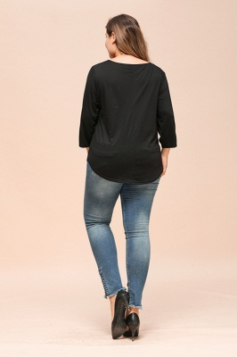Casual Button Neckline Wide Sleeves Plus Size Blouses_2