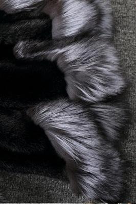Abrigo con capucha de media longitud negro / blanco de piel sintética | Chaqueta de piel sintética con cuello chal artificial islandés_11