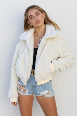 Daily Basic Winter Plus Size Regular Faux Fur Coat| Solid Colored Shirt Collar Long Sleeve Faux Fur Black/Pink/Ivory_17