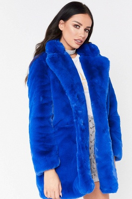 Daily Regular Stand Long Faux Fur Coat| Solid Colored Long Sleeve Faux Fur Yellow / Blue / Fuchsia_30