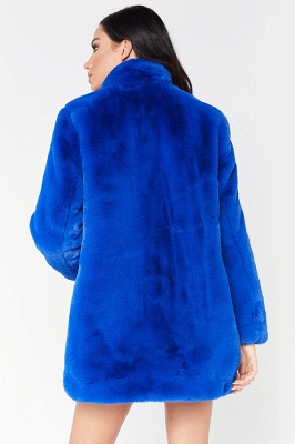 Daily Regular Stand Long Faux Fur Coat| Solid Colored Long Sleeve Faux Fur Yellow / Blue / Fuchsia_32