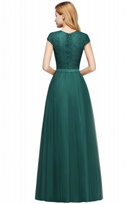 Elegant Lace Top Cap Sleeves Long Tulle Bridesmaid Dresses_15