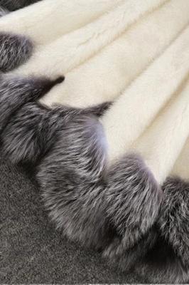 Abrigo con capucha de media longitud negro / blanco de piel sintética | Chaqueta de piel sintética con cuello chal artificial islandés_13