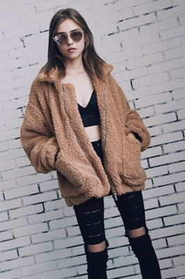 Going out Basic Regular Faux Fur Coat| Solid Colored Stand Long Sleeve Faux Fur White / Brown / Black_22