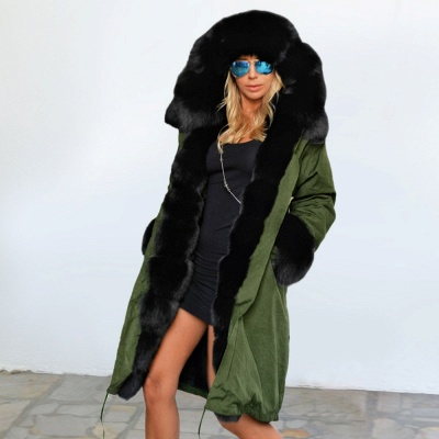 Army Green Faux Fur-trimmed long-length Coat | Classic Solid Color Winter/Fall Jacket_2