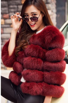Women's Daily/Party Long Faux Fur Coat | Solid White/Pink/Ruby/Burgundy Colored Round Neck Long Sleeve Faux Fur Overcoat_5