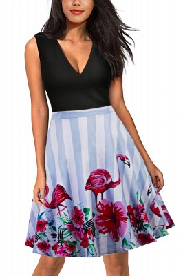 Sleeveless Sexy V-neck A-line Dress with Floral Skirt | Clearance Sale & Free Shipping_2