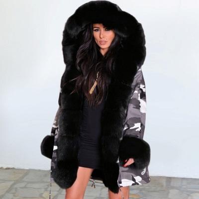 Chaqueta Fashionista de piel sintética con capucha y camuflaje para mujer | Abrigo largo medio en cuello de chal burdeos / negro / gris_2