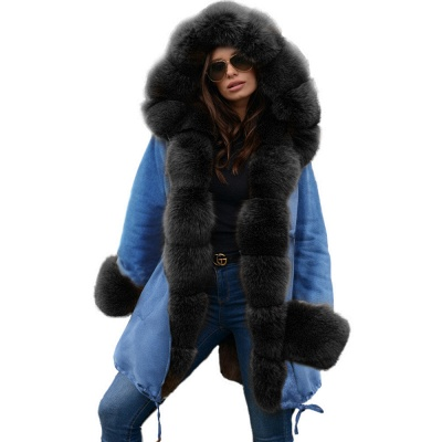 Midnight Blue Hooded Long-length Faux Fur Coat | Women's Solid Color Winter/Fall Jacket_25