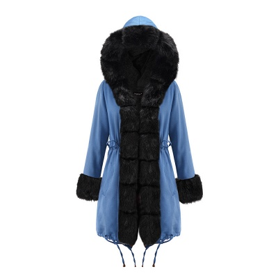 Midnight Blue Hooded Long-length Faux Fur Coat | Women's Solid Color Winter/Fall Jacket_24
