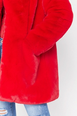 Daily Regular Stand Long Faux Fur Coat| Solid Colored Long Sleeve Faux Fur Yellow / Blue / Fuchsia_20