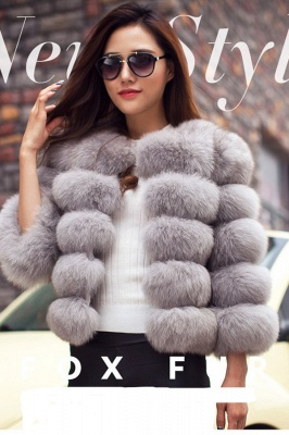 Women's Daily/Party Long Faux Fur Coat | Solid White/Pink/Ruby/Burgundy Colored Round Neck Long Sleeve Faux Fur Overcoat_31