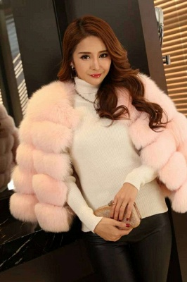 Women's Daily/Party Long Faux Fur Coat | Solid White/Pink/Ruby/Burgundy Colored Round Neck Long Sleeve Faux Fur Overcoat_19