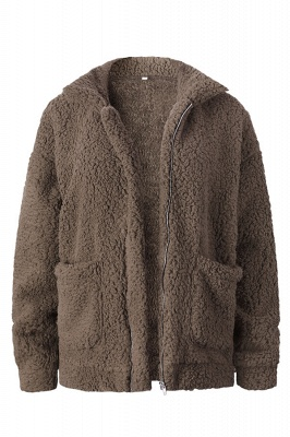 Going out Basic Regular Faux Fur Coat| Solid Colored Stand Long Sleeve Faux Fur White / Brown / Black_4