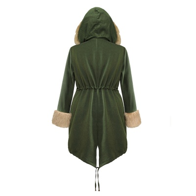Army Green Faux Fur-trimmed long-length Coat | Classic Solid Color Winter/Fall Jacket_14