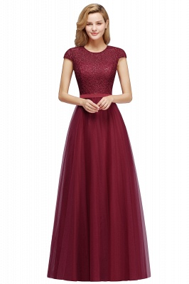 Elegant Lace Top Cap Sleeves Long Tulle Bridesmaid Dresses_2