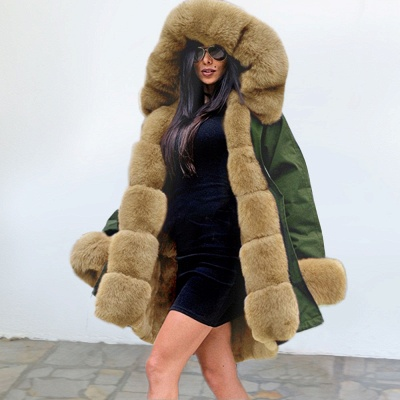 Army Green Faux Fur-trimmed long-length Coat | Classic Solid Color Winter/Fall Jacket_7