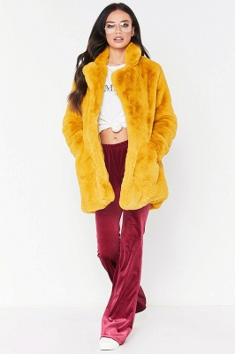Daily Regular Stand Long Faux Fur Coat| Solid Colored Long Sleeve Faux Fur Yellow / Blue / Fuchsia_59