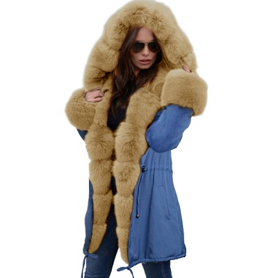 Midnight Blue Hooded Long-length Faux Fur Coat | Women's Solid Color Winter/Fall Jacket_49