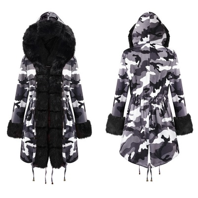 Women's Hooded Camouflage Faux Fur Fashionista Jacket | Mid-length Overcoat in Burgundy/Black/Gray Shawl Collar_17