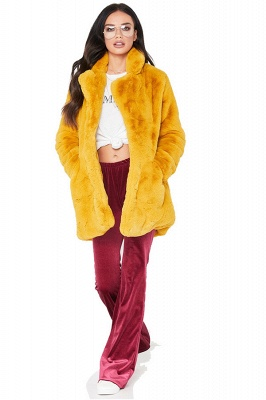 Daily Regular Stand Long Faux Fur Coat| Solid Colored Long Sleeve Faux Fur Yellow / Blue / Fuchsia_6