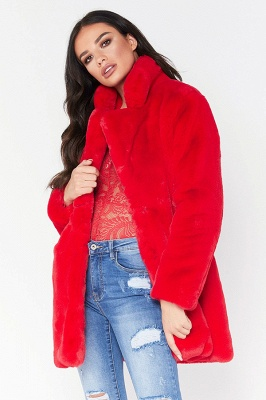 Daily Regular Stand Long Faux Fur Coat| Solid Colored Long Sleeve Faux Fur Yellow / Blue / Fuchsia_21