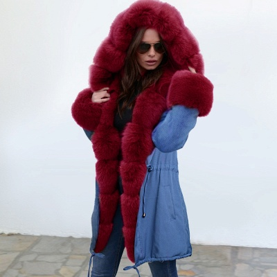 Midnight Blue Hooded Long-length Faux Fur Coat | Women's Solid Color Winter/Fall Jacket_7