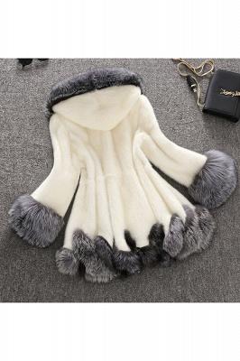 Abrigo con capucha de media longitud negro / blanco de piel sintética | Chaqueta de piel sintética con cuello chal artificial islandés_4