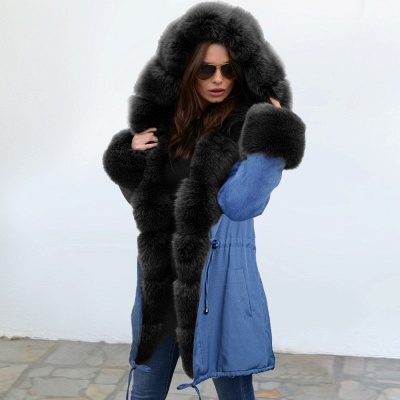 Midnight Blue Hooded Long-length Faux Fur Coat | Women's Solid Color Winter/Fall Jacket_3