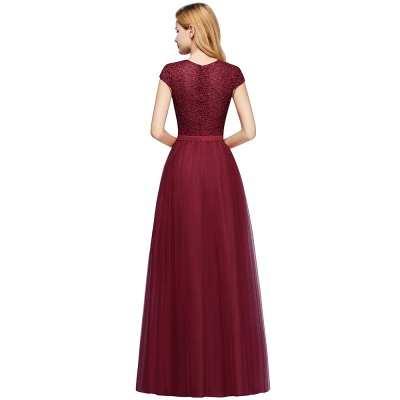 Elegant Lace Top Cap Sleeves Long Tulle Bridesmaid Dresses_11